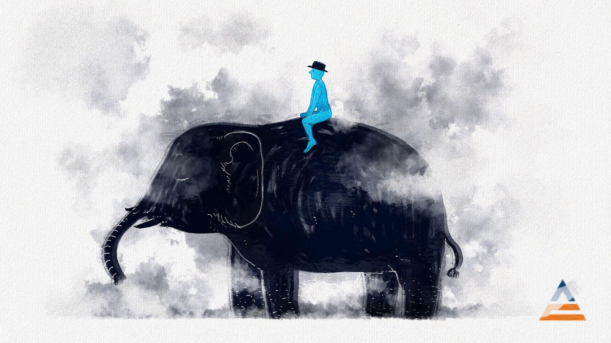 Der blaue Reiter auf einem Elefanten